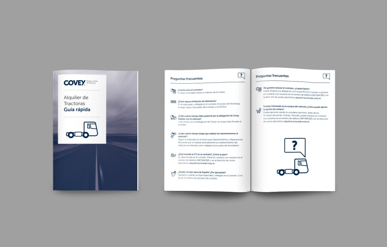 Guía rápida de alquiler de cabezas tractoras de Covey. Diseño y maquetación de Momo & Cía.