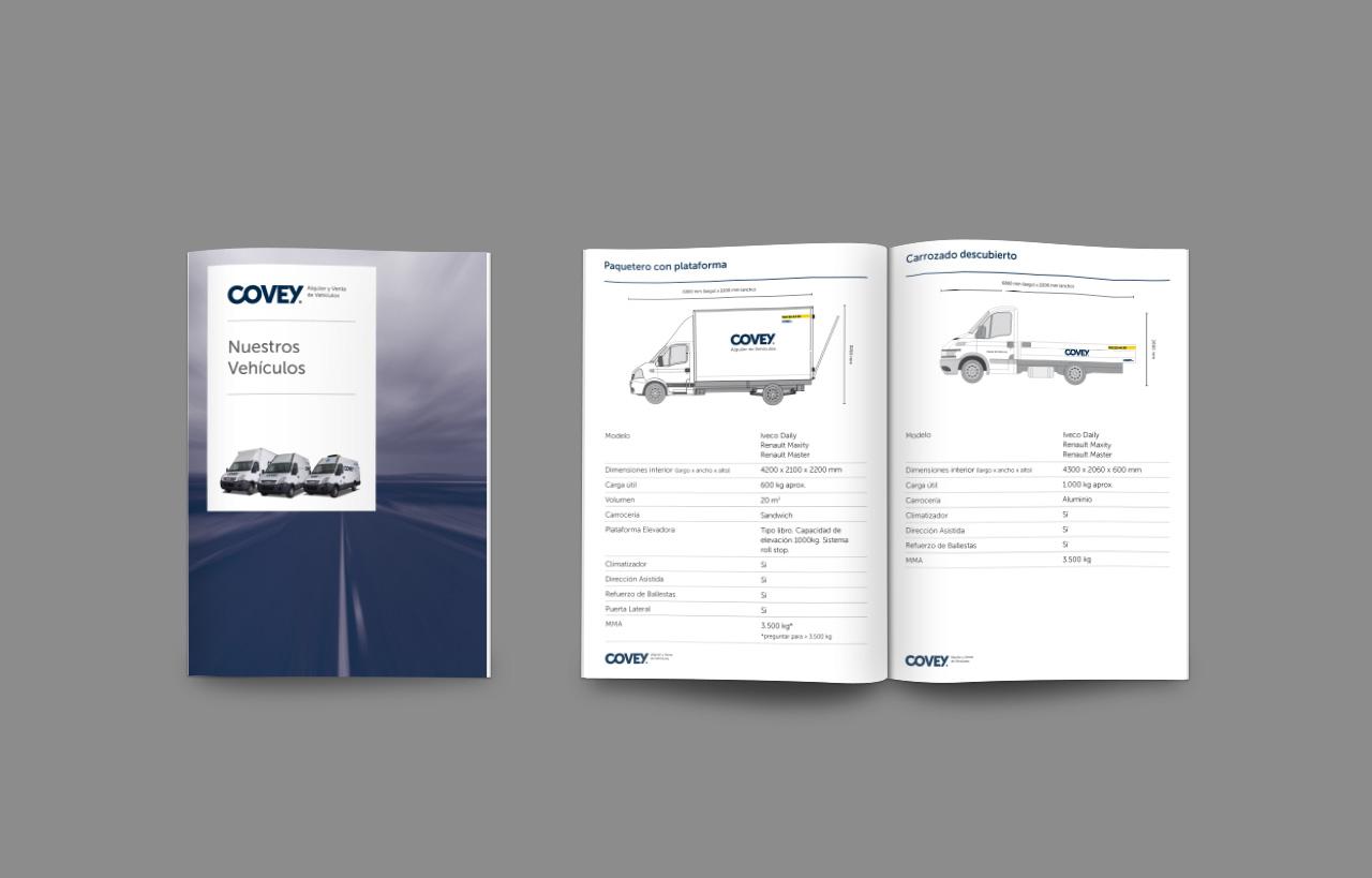 Manual guía de alquiler de vehículos para COVEY. Diseño y maquetación de Momo & Cía.