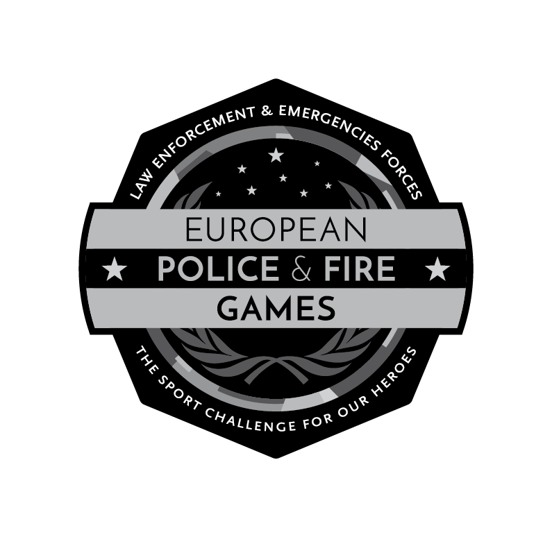 Logo European Police and Fire Games - Versión en escala de grises