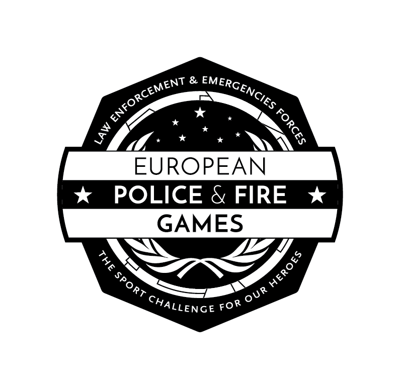Logo European Police and Fire Games - Versión monocromo