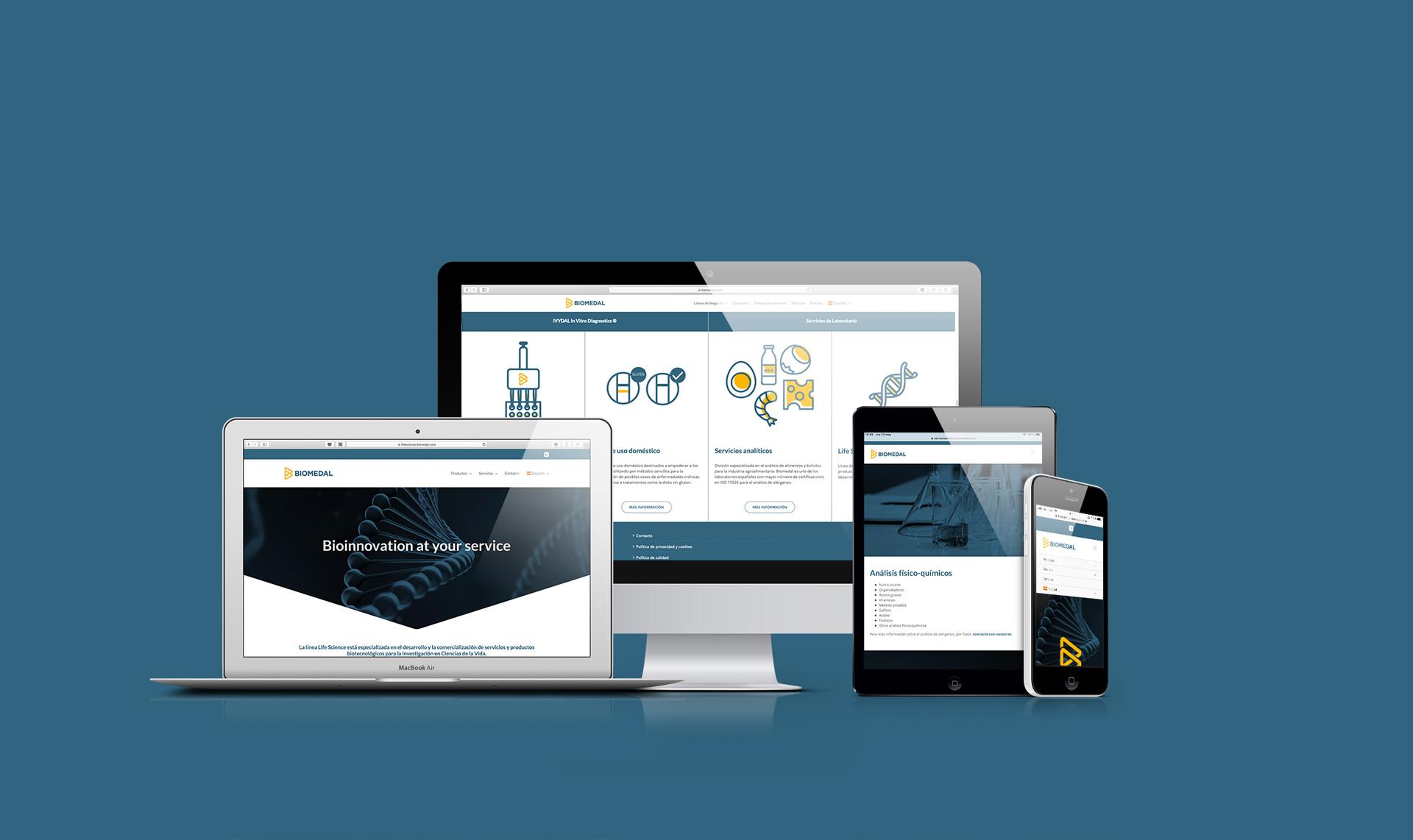 Webs Biomedal diseñadas por Momo & Cía.