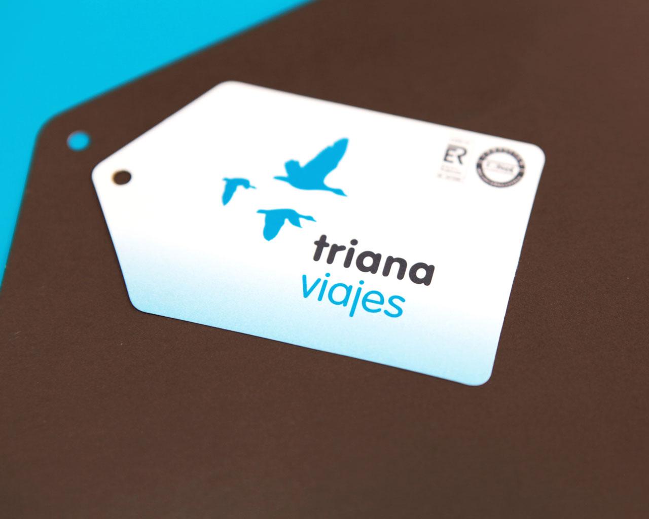 Diseño de tarjetas de Visita para Triana Viajes, por Momo & Cía.