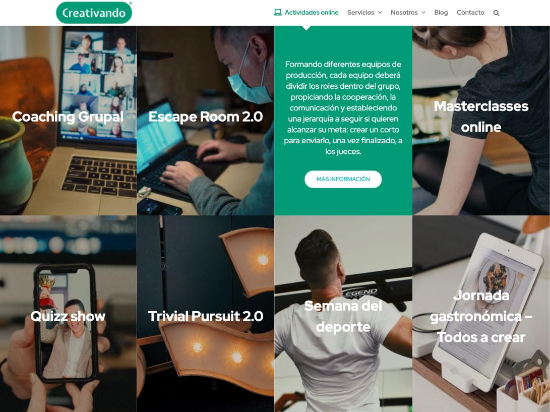 Diseño web de Creativando
