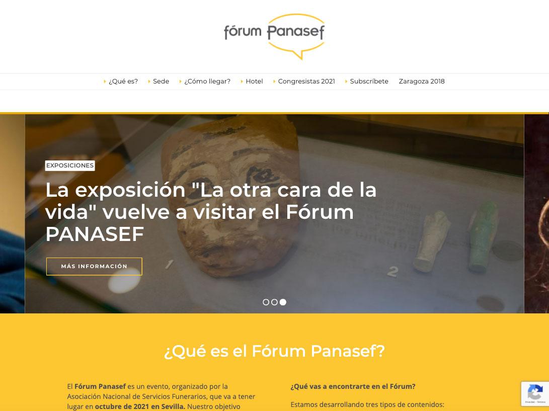 Diseño web del evento Fórum Panasef