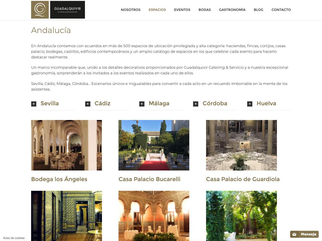 Diseño web catering Guadalquivir