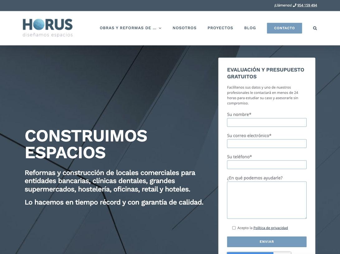 Diseño web para Horus construcciones