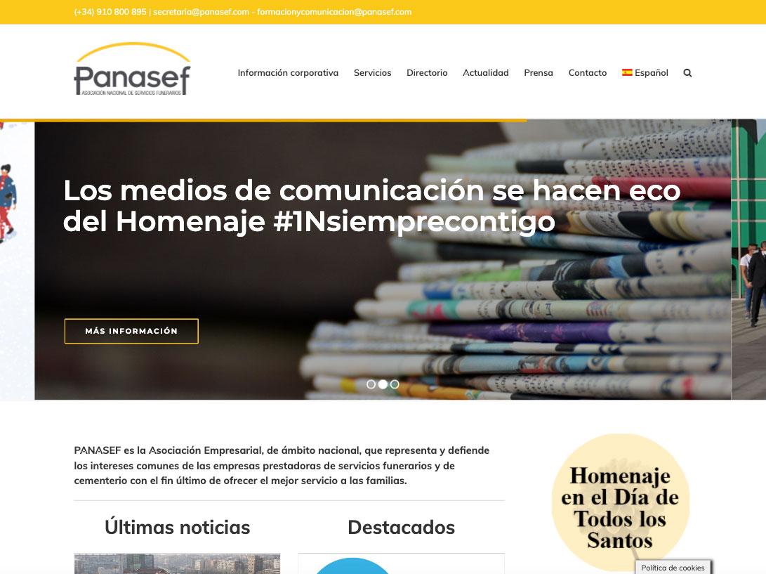 Diseño web de la asociación Panasef